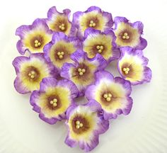 BLOSSOMS 2 Inch Regal Purple and Yellow  / Gum by lenabender48, $17.95