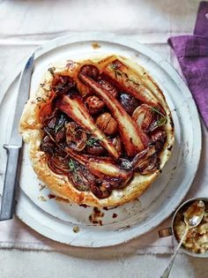 Parsnip & chestnut tarte parsnips 3 shallots Bramley apple 20 g goose fat 50 g unsalted butter 100 g ready-to-cook chestnuts 7 sprigs of thyme 320 g ready-rolled puff pastry 1 tablespoon balsamic vinegar SHALLOT COMPOTE 200 g shallots 50 g medj Tart Recipes, Vegetable Recipes, Cooking Recipes, Vegetable Tart, Veggie Meals, Sausage Recipes, Vegetable Dishes, Vegetarian Nut Roast, Vegetarian Recipes