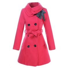 Stylish Turn-Down Collar Long Sleeve Solid Color Coat For Women Vintage Coats | RoseGal.com Mobile