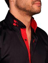 Chemise homme noire doublure rouge jacquard col danton