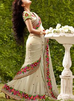Cream Georgette Saree With Embroidery Work