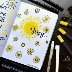 incredible June monthly spreads for your Bullet Journal! Get creative with cover pages with our 5 tips on how to create gorgeous simple and easy pages! Bullet Journal Month Page, Bullet Journal Cover Ideas, Bullet Journal Aesthetic, Bullet Journal Notebook, Bullet Journal Themes, Journal Covers, Bullet Journal Inspiration, Bullet Journals, Journal Ideas