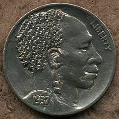 SONNY CARPENTER HOBO NICKEL - 1937 BUFFALO PROFILE Hobo Nickel, Carpenter, Buffalo, Classic Style, Profile, Scrapbook, Personalized Items, Coins, User Profile