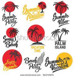 Set of summer emblems with palm trees. Design elements for logo, label, emblem, sign. Vector illustrations.
