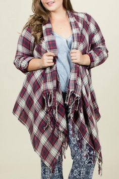 Plus Size Plaid Fringe Kimono.. I like this and I'm not sure why lol