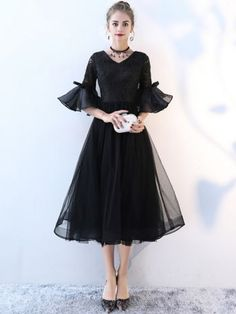 691183ac4e01 Lace Solid Color Deep V Neck Half Sleeves Flare Sleeves Dresses