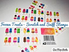 """USPS """"Frozen Treats"""" Scratch and Sniff Forever Stamps featuring fun ice cream flavors of summer!"""