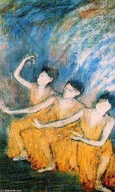 'trois danseurs', pastel de Edgar DEGAS (1834-1917)