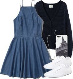 Blue outfit with white converse