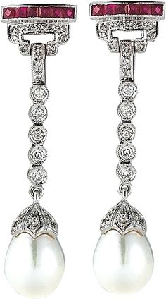 Estate Diamond, Ruby & Pearl Earrings  : These stunning estate earrings feature diamonds and rubies leading down to a beautiful pearl drop.