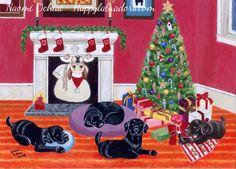 Christmas Eve Labradors Painting by Naomi Ochiai.  Colorful and cute Labrador Christmas Cards and Gifts!  #Labrador #LabradorRetriever #Christmas