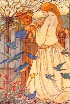 'Maiden Song' (1910) by Florence Harrison (1877-1955).  English Art Nouveau and Pre-Raphaelite illustrator of poetry and children's books. Many of her books were published by Blackie and Sons. ~ This is an an illustration to Christina Rossetti's poem 'Maiden Song' | JV