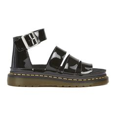 Dr. Martens Women's Shore Clarissa Patent Lamper Chunky Strap Sandals (475 BRL) ❤ liked on Polyvore featuring shoes, sandals, black, flat gladiator sandals, black patent leather sandals, gladiator sandals, black chunky sandals and black slide sandals