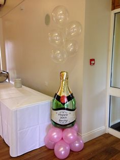 Peronsalised champagne bottle #balloon with #balloon bubbles