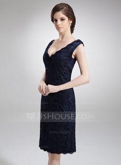 Etui-Linie Schulterfrei Knielang Spitze Kleid für die Brautmutter (008005700) - JJsHouse