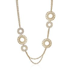 "Golden Circles Necklace 30"" chain"