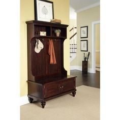 Entryway Hall Tree Coat Rack With Storage Bench In Cherry