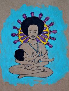 OM// 8.5 x 11 original art print/  breastfeeding art/ meditation/ mothering art/ gift for new mom/ nursery art/ nursery decor/