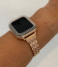 Apple Watch Bands Fashion, Rose Gold Apple Watch, Apple Watch Accessories, Black Apple, Silver Rhinestone, Gold Bands, As You Like, Bling, Watches