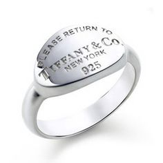 Tiffany  Co Outlet Engraved Oval Tag Ring
