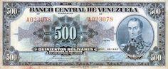 Billete del Banco Central de Venezuela. 500 Bolívares. Fecha Diciembre 19 1940. Serie A6