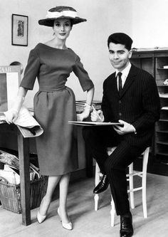 A very young Karl Lagerfeld at Jean Patou,1959.