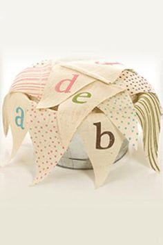 Blue And Pink Burlap Banner Letters (you pick letters) PRTT20