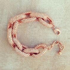 Rose Gold Sparkling Link Bracelet