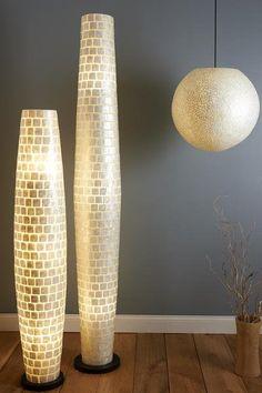 Modern Square Pattern White Capiz Floor Lamp by Collectiviste Tall Floor Lamps, White Floor Lamp, Contemporary Floor Lamps, Contemporary Design, Ceiling Shades, Ceiling Lights, Stained Glass Floor Lamp, Sphere Light, Globe Lamps