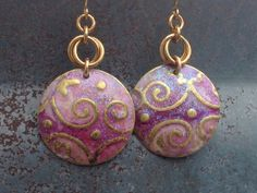 Breast Cancer Awareness Brass Disc Embossed Earring by Dajamana, $35.00