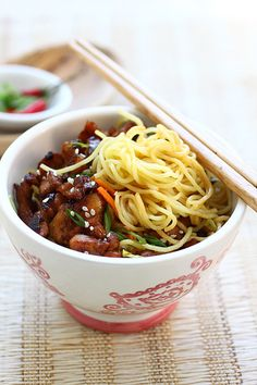 Chicken Noodles ... Worcestershire sauce made all the difference! Super hit, also sub the egg noodle with gluten free noodles no knew the diff.