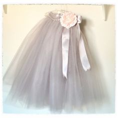 Dove grey Flower Girl tutu for spring weddings-- sewn and long.. $90.00, via Etsy.