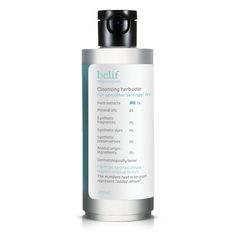 This product is non-slippery, non-oily, non-irritating, refreshing cleansing water. With water-soluble hydrating ingredients, it cleans out make-up and impurities effectively without the need of another step of cleansing and leaves the skin feeling refreshed and hydrated. Cleansing herb water contains Belif's Tri Herb complex that relieves daily stress and makes the skin clean, clear and fresh. Volume : 200ml