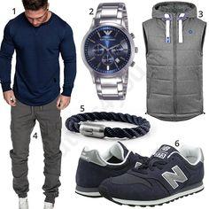 Blau-Grauer Herren-Style mit Cargo-Hose und Weste (m1007) #grau #blau #sneaker #armband #hose #uhr #armani #outfit #style #fashion #ootd #herrenmode #männermode #outfit #style #fashion #menswear #mensfashion #inspiration #menstyle #inspiration