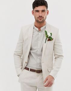 Order River Island wedding skinny linen suit jacket in ecru online today at ASOS for fast delivery, multiple payment options and hassle-free returns (Ts&Cs apply). Get the latest trends with ASOS. Wedding Tux, Wedding Attire, Linen Wedding Suit, Beach Wedding Suits, Asos Wedding, River Island, Types Of Suits, Suit Measurements, Skinny Suits