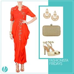 "It's ""Fashionista Friday"" Ladies! Be a stunner this upcoming Festive Season! Shop this Look by Product Code - ( Daped Dress : 50494, Ear Rings : 41013, Clutch : 40925, Peep Toes : 147613) #fashionistafridays #ethnicchic #festivewear #statementlook #goldaccents #designerwear #premium #vilara"