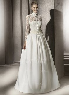 Wedding Dresses - $199.99 - Ball-Gown High Neck Sweep Train Satin Lace Wedding Dress (00205001067)