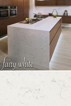White With A Touch Of Gray Veining Make Q Fairy White Quartz Countertops  Elegant