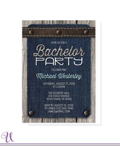 Rustic Bachelor Party Invitations - Denim Wood Leather