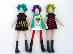 Handmade fabric doll. Yellow slashed dress & turquoise hair. $30.00, via Etsy.