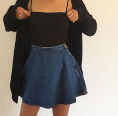 These are never going to be outdated. How about we perceive how we can style the denim skirt. Here are 23 cute denim skirt outfits we absolutely love! Tumblr Outfits, Mode Outfits, Fall Outfits, Casual Outfits, Fashion Outfits, Womens Fashion, Denim Skirt Outfits, Fashion Fashion, Fashion Ideas