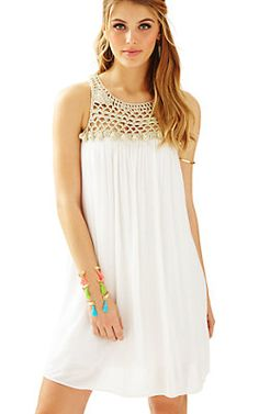 Shop for the Rachelle Dress with complimentary shipping and effortless returns. The Rachelle Dress is a flowy dress perfect for upcoming summer weddings. Wear this easy dress with a crochet neckline and pom pom details with gold flats and bangles. Maternity Dresses For Baby Shower, Baby Dress, Dress Lilly, Summer Dresses For Women, Suits For Women, Simple Dresses, Day Dresses, Beach Dresses, Resort Dresses