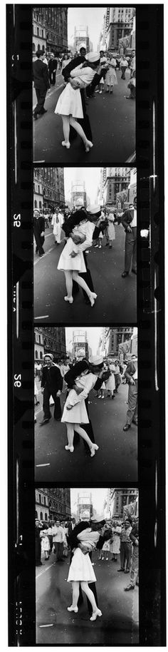 "Alfred Eisenstaedt - Time & Life Pictures/Getty Images...Caption from the August 27, 1945, issue of LIFE. ""In the middle of New York's Times Square a white-clad girl clutches her purse and skirt as an uninhibited sailor plants his lips squarely on hers."" °"
