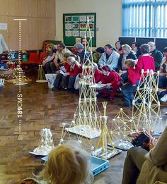 Science prize winning spaghetti and marshamallow tower