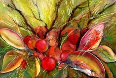 Red Autumn Berries Art Print by Sabina Von Arx Beautiful Paintings, Beautiful Images, All The Months, Vegetable Painting, Thing 1, Soft Autumn, Creative Colour, All Print, Painting Techniques