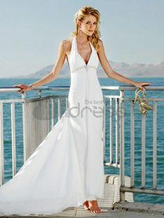 Abiti da Sposa Semplici-Cinghie a picco scollo a v bordare abiti da sposa semplici