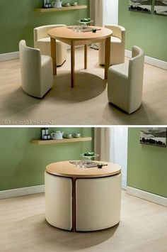 space saving table and chairs.I wonder if you could build these with frame, foam and cover. I would love to do it to match décor or to do a mini set for in a kids playroom house design with kids Round Dining Table & Chairs for Small Homes Smart Furniture, Home Decor Furniture, Modern Furniture, Diy Home Decor, Room Decor, Furniture Ideas, Folding Furniture, Rustic Furniture, Compact Furniture