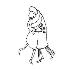 Illustratie met pen - illustration with pen - liefde - love - omhelzing - embrace