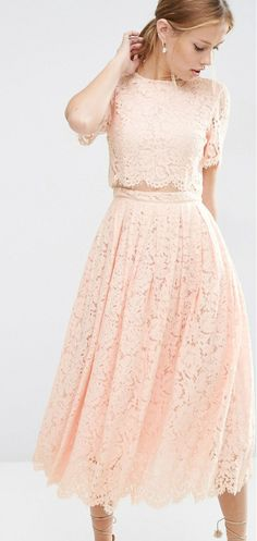 Blush lace crop top and skirt