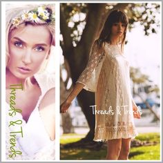 Boho Girly Lace Shift Dress The ultimate girly girl boho look in a natural color lace with fringe crochet accent on hem line. Fully lined. All kinds of looks can be created with this easy fit neutral tone shift dress Made of cotton/poly blend. Fully lined. Size S, M, L pastel Threads & Trends Dresses Long Sleeve